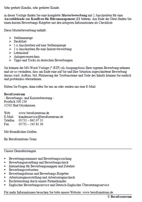 Bewerbung - Kauffrau für Büromanagement (Ausbildung)