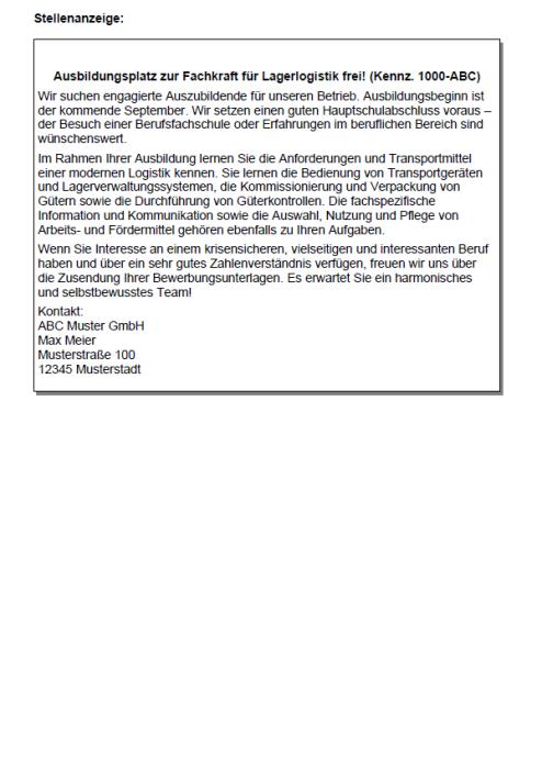 Bewerbung - Lagerlogistikfachkraft (Ausbildung)