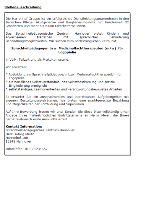 Bewerbung - Medizinalfachtherapeutin für Logopädie (Praktikum)