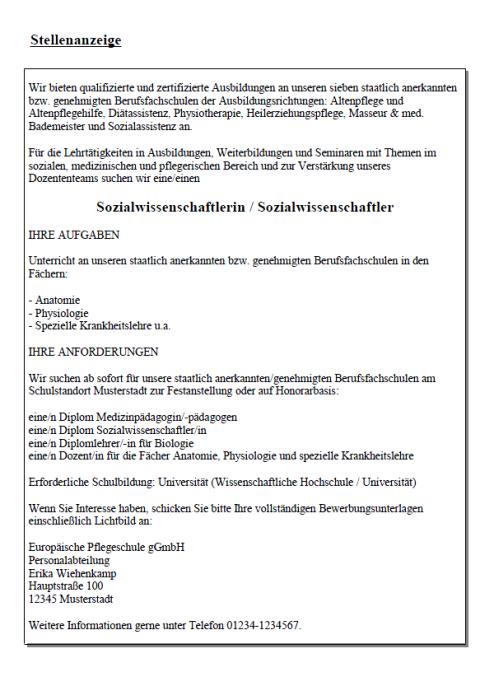Bewerbung - Sozialwissenschaftler (Berufseinsteiger)