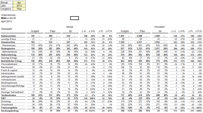 Betriebswirtschaftliche Auswertung (BWA) - Schnelles und einfaches Tool