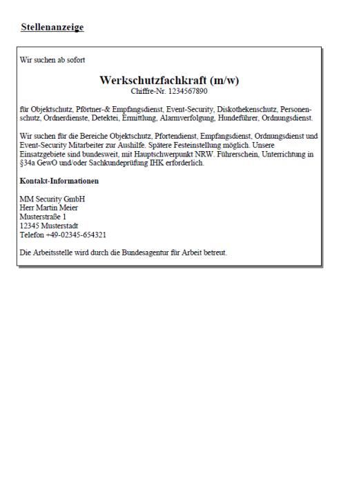 Bewerbung - Werkschutzfachkraft (Berufseinsteiger)