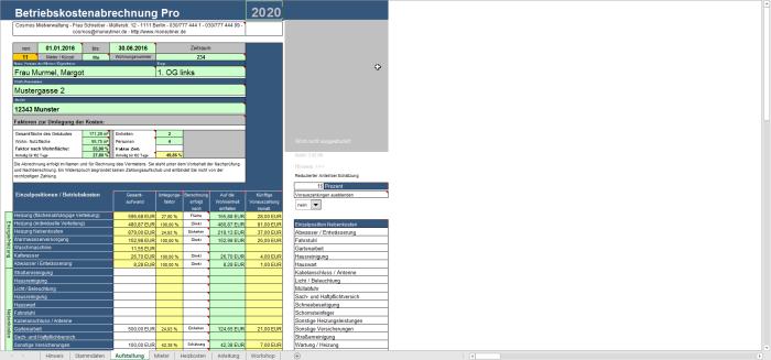 Betriebskostenabrechnung Pro - Excel Tool