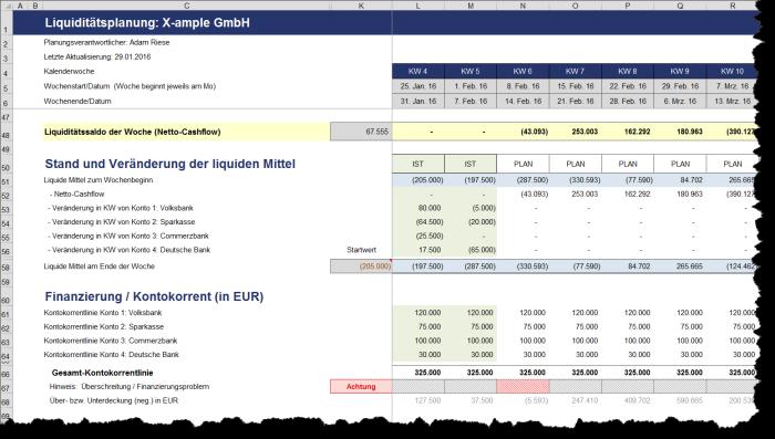 Liquiditätstool auf Wochenbasis - Excel-Vorlage