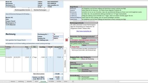 Genial einfache Rechnungsstellung (Rechnung) für das Gastgewerbe - Excel