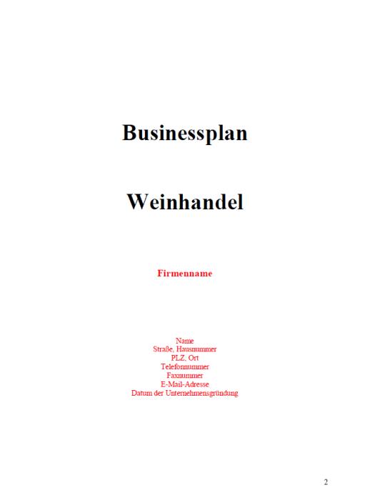 Businessplan - Weinhandel