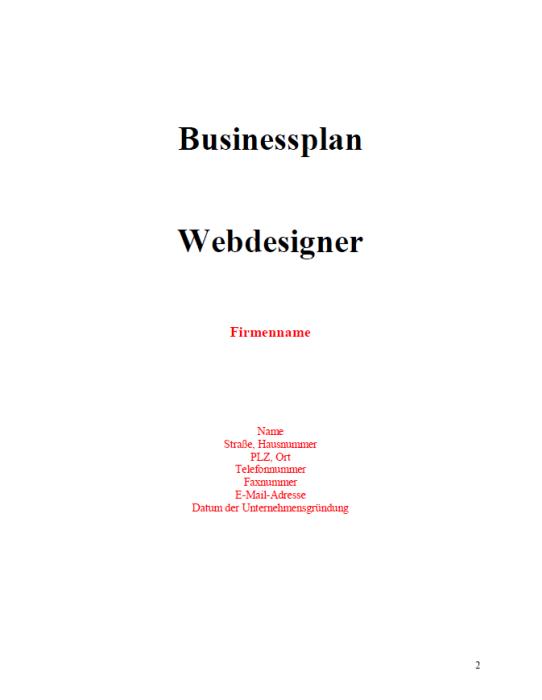 Businessplan - Webdesigner