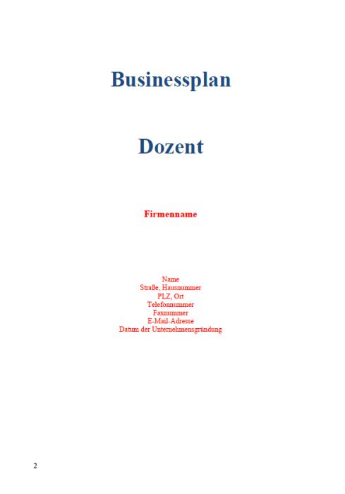 Businessplan - Dozent