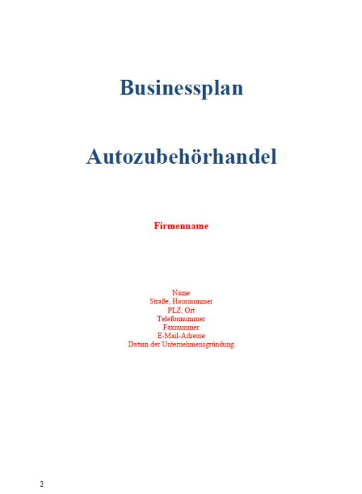 Businessplan - Autozubehörhandel