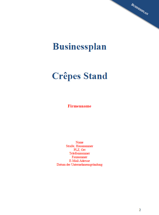 Businessplan - Crepes Stand