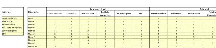 Potenzial Analyse Mitarbeiter – Excel-Vorlage