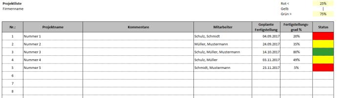 Projektliste – Excel-Vorlage