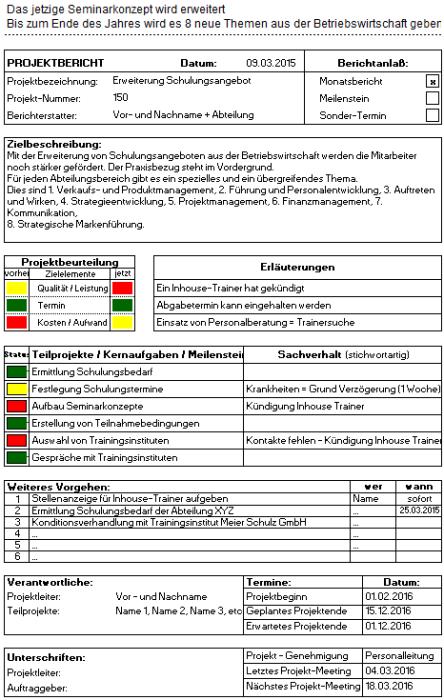 Projektbericht – Excel-Vorlage