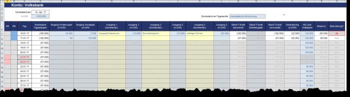 Liquiditätstool auf Tagesbasis - Excel-Vorlage