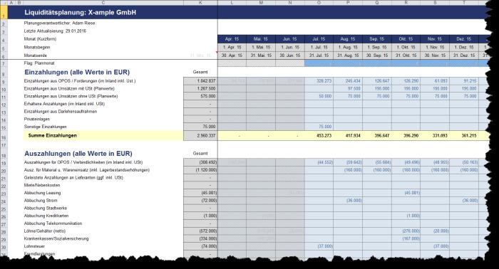 Liquiditätstool auf Monatsbasis - Excel-Vorlage