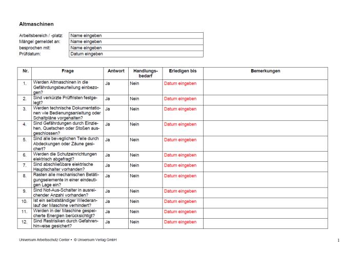 Checkliste - Altmaschinen