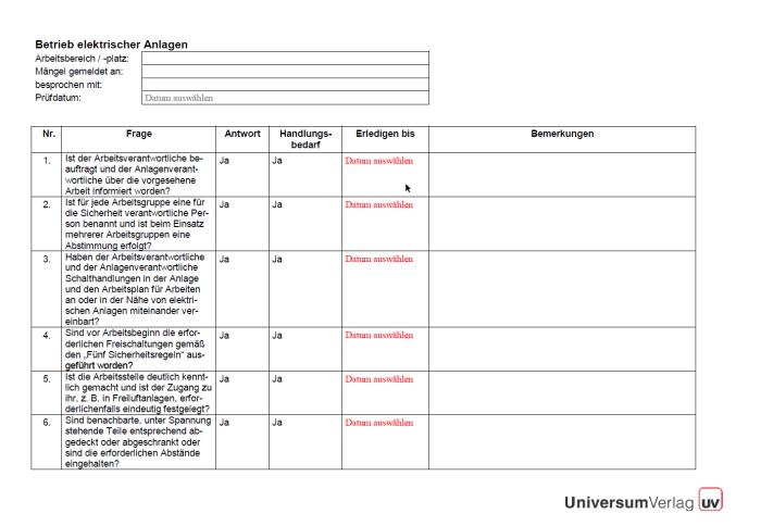 Checkliste - Betrieb elektrischer Anlagen