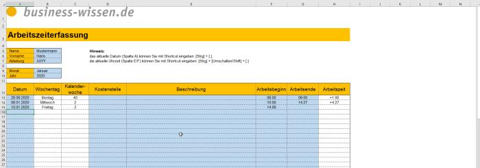 Excel Arbeitszeiterfassung 2020