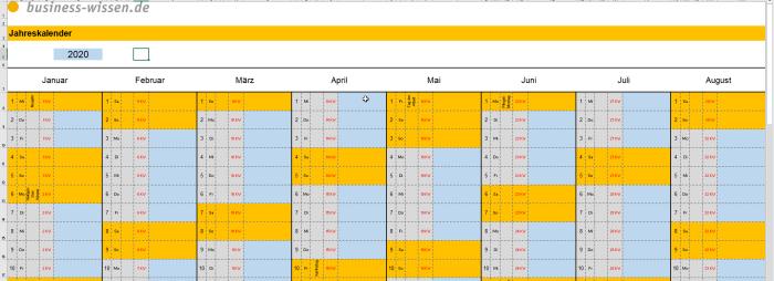 Vorteilspaket - Excel Jahresplaner 2020