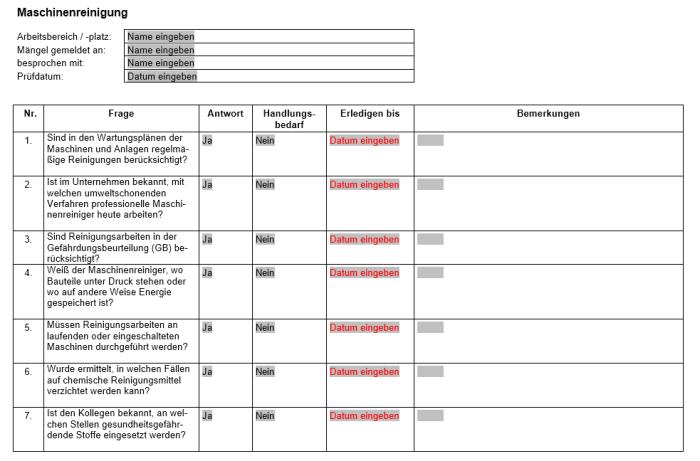 Checkliste - Maschinenreinigung