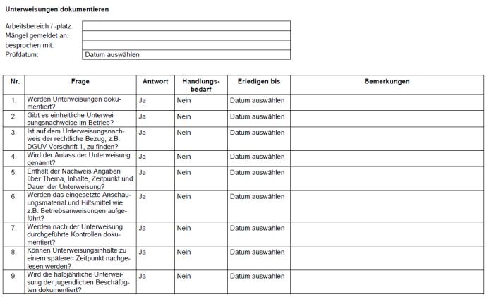 Checkliste - Unterweisungen dokumentieren