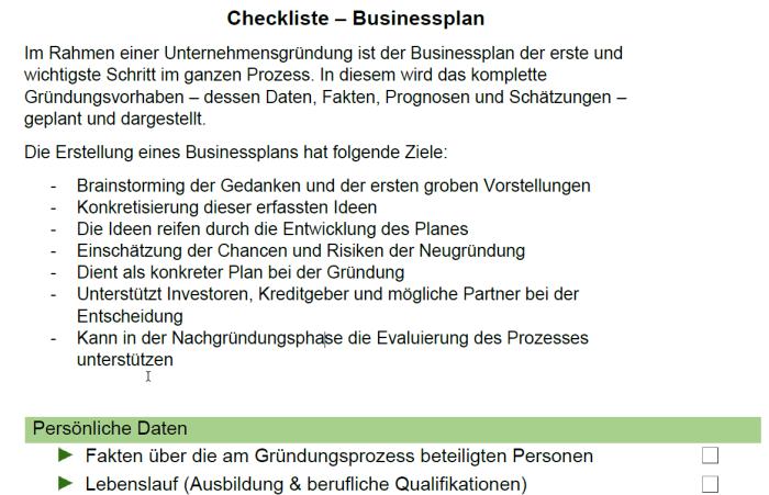 Checkliste - Businessplan