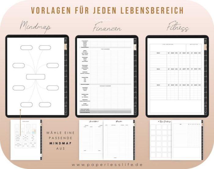 Digitaler Lebensplaner mit Register // Deutsch // Bullet Journal mit 90 Planning Sticker
