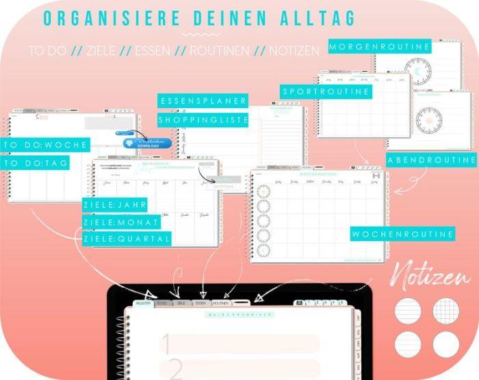 Digitaler Planer Deutsch / undatierter Kalender / digital Bullet Journal mit 280 Sticker