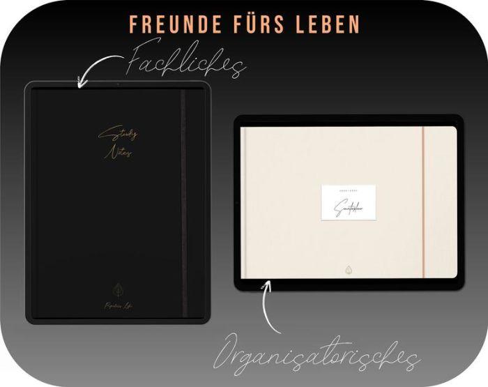 Digitales Notizbuch Schwarz // iPad Studenten Notizbuch für die Uni // Black Edition