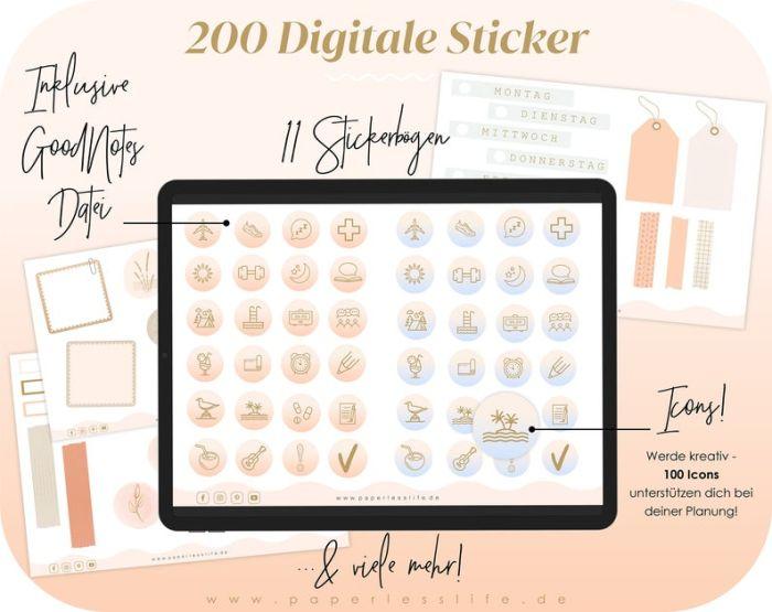 2021 Digitaler Wochenplaner Deutsch // Digitaler Planer 2021 mit 200 Stickern
