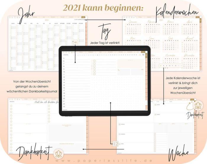 Digitaler Planer 2021 Deutsch // 2021 Kalender // Tagesplaner mit 200 digitalen Stickern