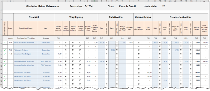 Reisekostenabrechnung Premium 2021 - Excel