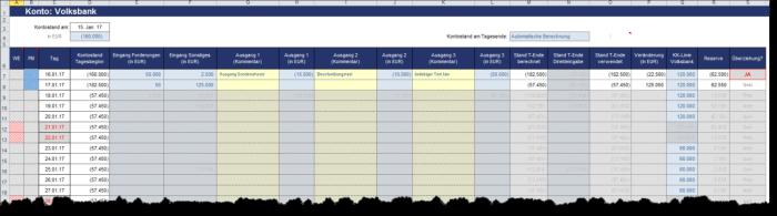 Excel-Liquiditätstool (3er Paket / Bundle)