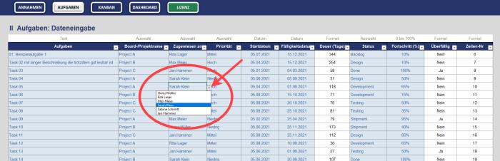 Automatisches Excel-Kanban-Tool für agiles Projektmanagement