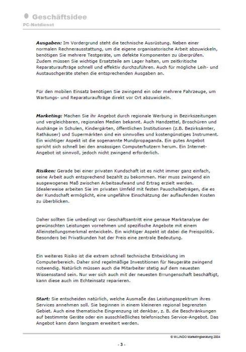 Geschäftsidee - PC-Notdienst