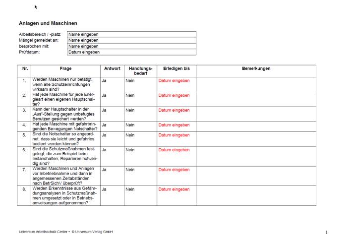 Checkliste - Anlagen und Maschinen