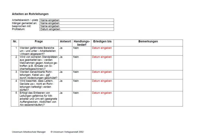Checkliste - Arbeiten an Rohrleitungen