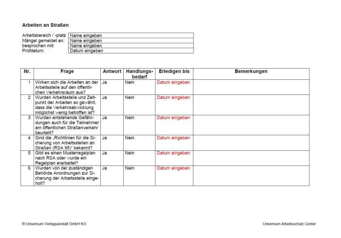 Checkliste - Arbeiten an Straßen