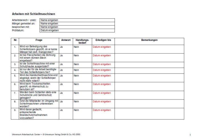 Checkliste - Arbeiten mit Schleifmaschinen