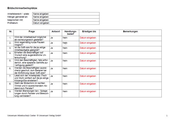 Checkliste - Bildschirmarbeitsplätze