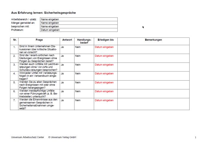 Checkliste - Sicherheitsgespräche: aus Erfahrung lernen
