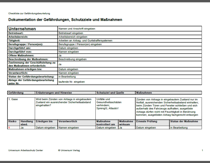 Gefährdungsbeurteilung - Arbeiten an Airbag- und Gurtstraffereinheiten