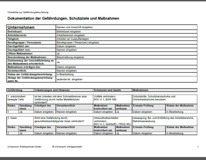 Gefährdungsbeurteilung - Arbeiten an Auspuffanlagen