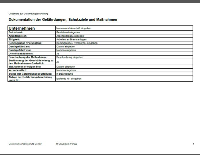 Gefährdungsbeurteilung - Arbeiten an Bremsanlagen