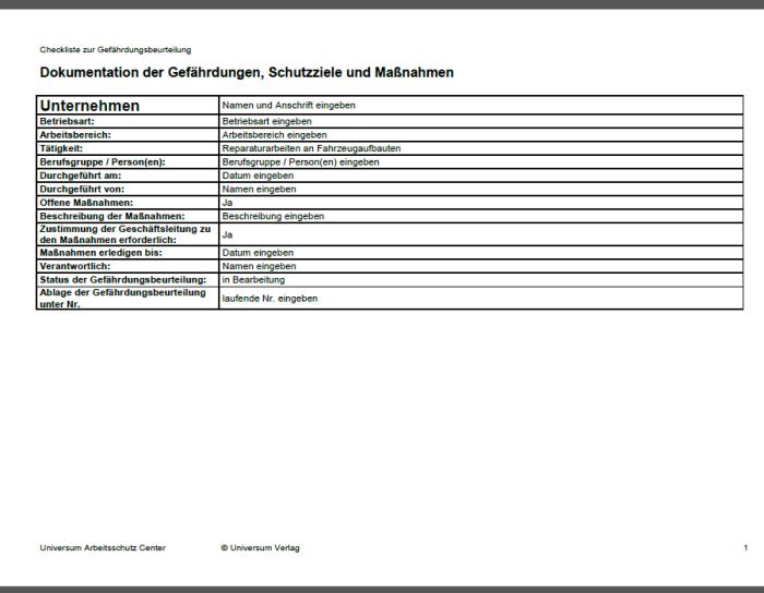 Gefährdungsbeurteilung - Reparaturarbeiten an Fahrzeugaufbauten