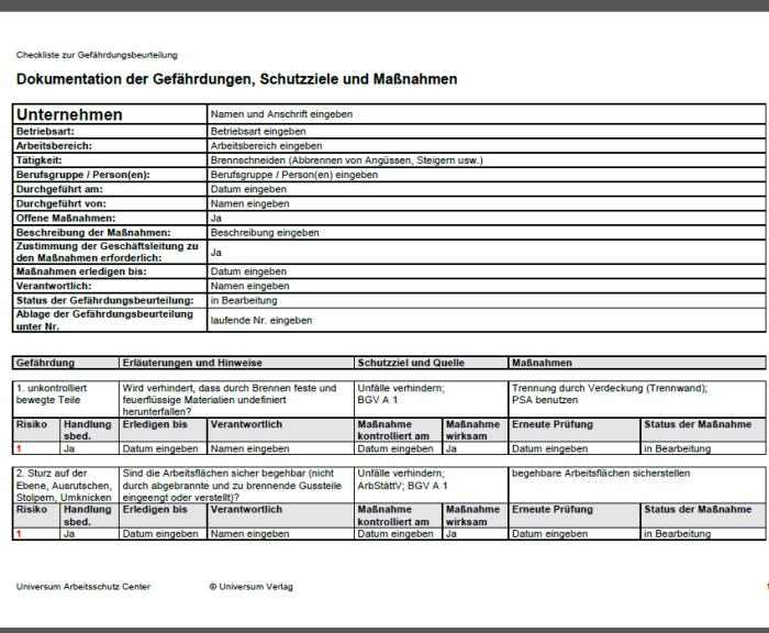 Gefährdungsbeurteilung - Brennschneiden (Abbrennen von Angüssen, Steigern usw.)