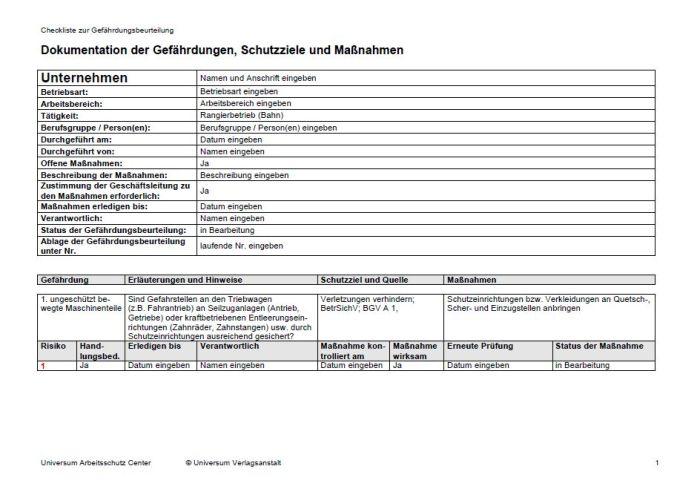 Gefährdungsbeurteilung - Rangierbetrieb (Bahn)