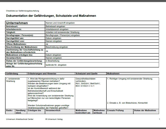 Gefährdungsbeurteilung - Arbeiten mit ionisierender Strahlung
