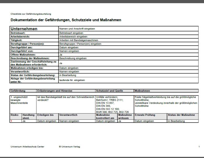 Gefährdungsbeurteilung - Arbeiten mit Bandsägemaschine
