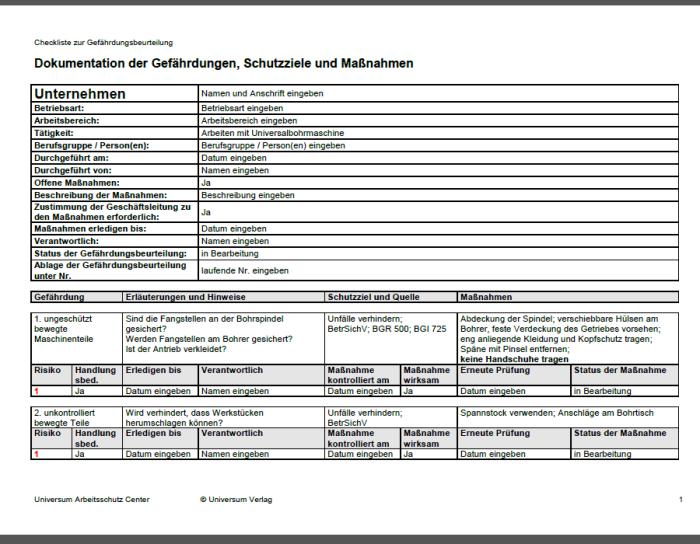 Gefährdungsbeurteilung - Bohren mit Universalbohrmaschine